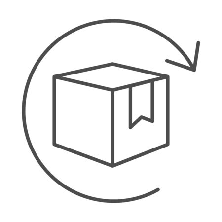 Box with arrow thin line icon, logistics concept, commodity turnover sign on white background, return and relocation of goods icon in outline style for mobile and web design. Vector graphics Vecteurs