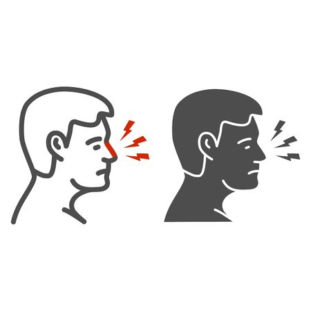 Nose hurts line and solid icon, Body pain concept, human nose with lightning sign on white background, Nose ache icon in outline style for mobile concept and web design. Vector graphics