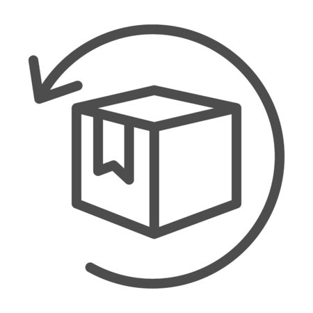 Box with arrow line icon, logistics concept, commodity turnover sign on white background, return and relocation of goods icon in outline style for mobile and web design. Vector graphics
