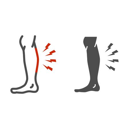 Shin hurts line and solid icon, Body pain concept, Shin pain sign on white background, leg injured in shin area icon in outline style for mobile concept and web design. Vector graphics  イラスト・ベクター素材