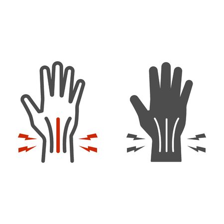 Pain in hand line and solid icon, Body pain concept, injury in hand joint sign on white background, Human hand and wrist pain caused by arthritis icon in outline style for mobile. Vector graphics