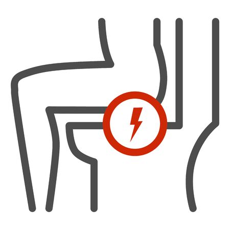 Hemorrhoids line icon, Health problems concept, anal pain sign on white background, Person sitting in toilet and feeling pain icon in outline style for mobile, web design. Vector graphics.