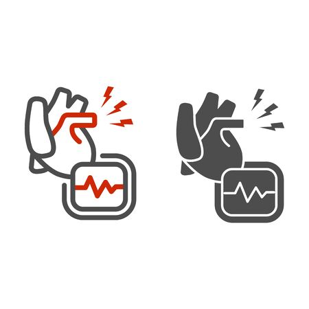 Heart ache line and solid icon, Body pain concept, heart attack sign on white background, heart organ and cardiogram icon in outline style for mobile concept and web design. Vector graphics.