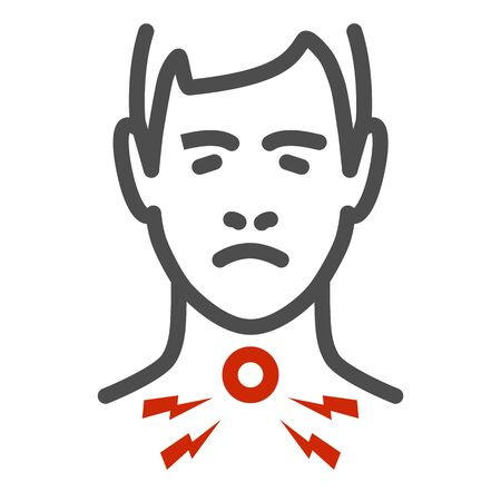 Sore throat line icon, healthcare concept, Man feel pain in throat sign on white background, Painful throat icon in outline style for mobile concept and web design. Vector graphics. Ilustração