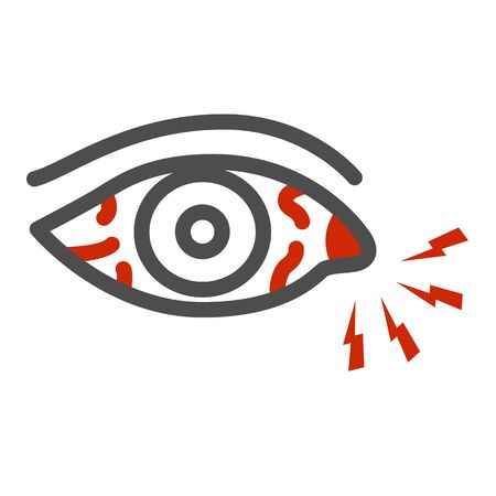 Eye pain and infection line icon, illness and injury concept, Sore eyes sign on white background, Redness of eyes icon in outline style for mobile concept and web design. Vector graphics.