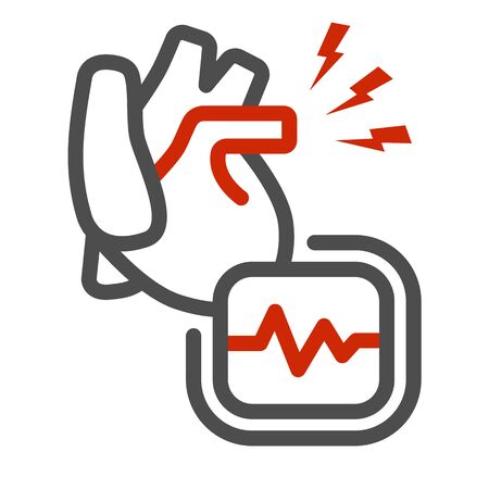 Heart ache line icon, Body pain concept, heart attack sign on white background, heart organ and cardiogram icon in outline style for mobile concept and web design. Vector graphics.