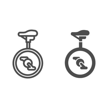 Unicycle line and solid icon, Amusement park concept, one wheel bicycle sign on white background, monocycle icon in outline style for mobile concept and web design. Vector graphics.