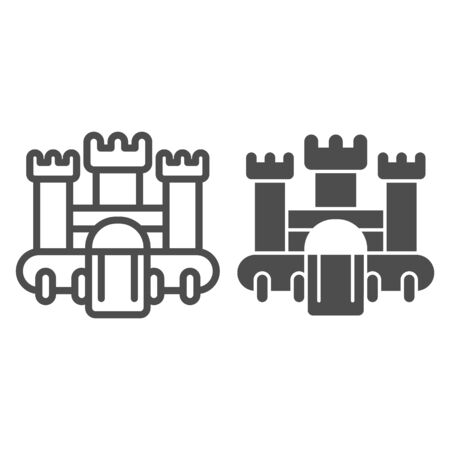 Bouncy castle line and solid icon, children entertainment concept, jumping house castle sign on white background, Bouncy castle icon in outline style for mobile concept, web design. Vector graphics. Vetores