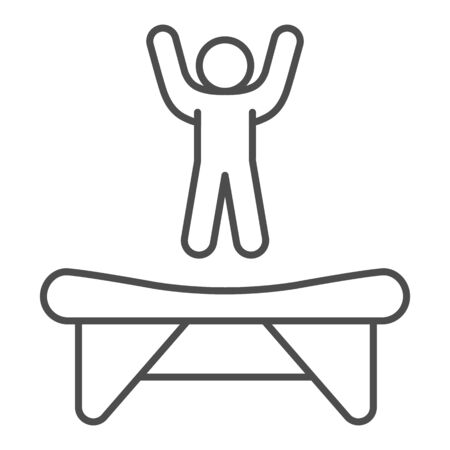 Trampoline thin line icon, Amusement park concept, jumping kid on trampoline sign on white background, trampoline icon in outline style for mobile concept and web design. Vector graphics.