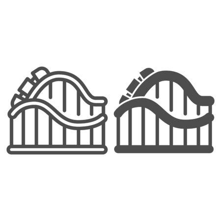 Roller coaster ride line and solid icon, Amusement park concept, amusement ride sign on white background, roller-coaster icon in outline style for mobile concept and web design. Vector graphics.