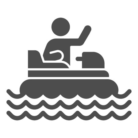 Catamaran with person solid icon, Amusement park concept, beach boat with pedals sign on white background, Rafting catamaran icon in glyph style for mobile and web design. Vector graphics.