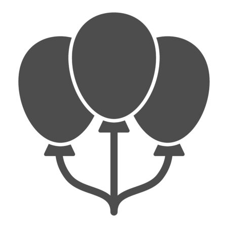 Three balloons solid icon, childhood concept, Air Balloon sign on white background, balloons icon in glyph style for mobile concept and web design. Vector graphics.
