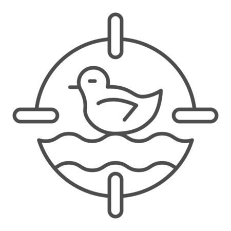 Duck toy in shooting range thin line icon, Amusement park concept, shoot duck sign on white background, Duck target icon in outline style for mobile and web design. Vector graphics