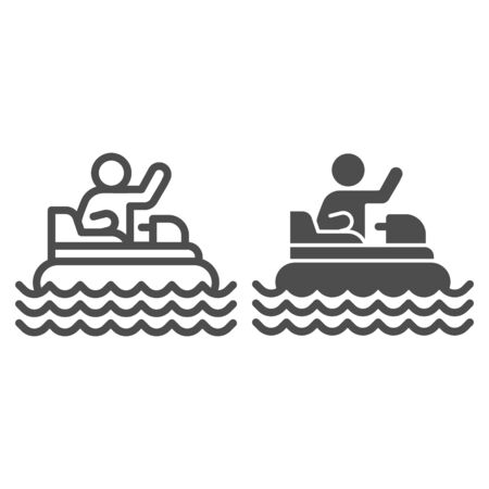 Catamaran with person line and solid icon, Amusement park concept, beach boat with pedals sign on white background, Rafting catamaran icon in outline style for mobile and web design. Vector graphics