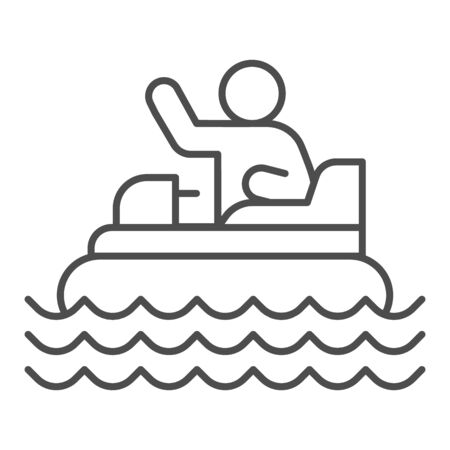 Catamaran with person thin line icon, Amusement park concept, beach boat with pedals sign on white background, Rafting catamaran icon in outline style for mobile and web design. Vector graphics.