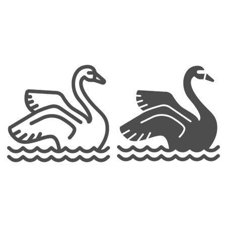Swan on the water line and solid icon, Amusement park concept, park elegant waterbird sign on white background, Swan icon in outline style for mobile concept and web design. Vector graphics.