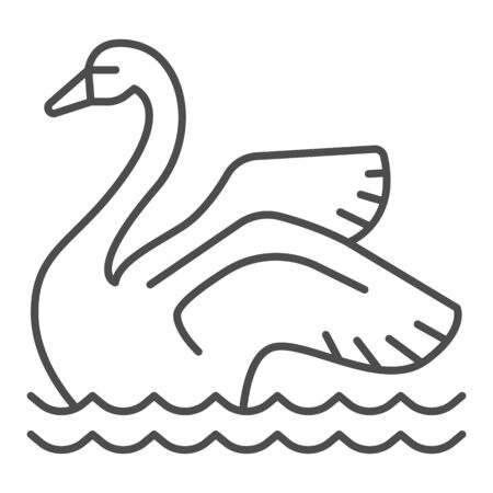 Swan on the water thin line icon, Amusement park concept, park elegant waterbird sign on white background, Swan icon in outline style for mobile concept and web design. Vector graphics.