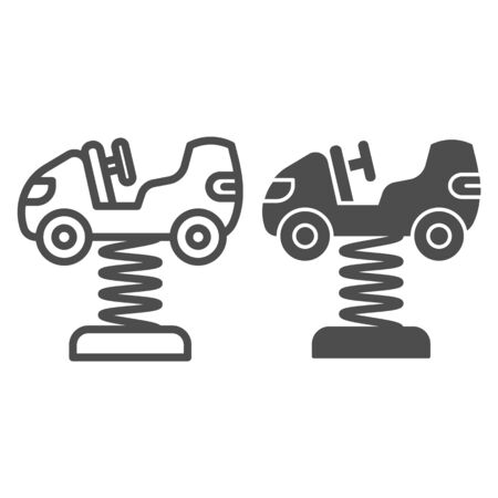 Rocking car toy on springs line and solid icon, Amusement park concept, Kid car on spring icon in outline style for mobile concept and web design. Vector graphics.