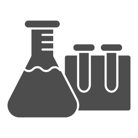 Beakers for chemistry solid icon, education concept, Laboratory glassware sign on white background, Test tubes icon in glyph style for mobile concept and web design. Vector graphics Vectores