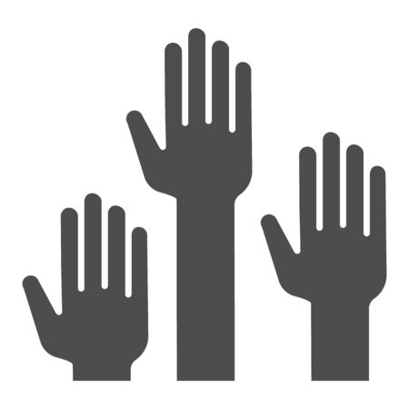 Hands raised up solid icon, Education concept, raising up hands in air sign on white background, raised arms icon in glyph style for mobile concept and web design. Vector graphics