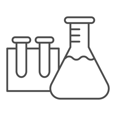 Beakers for chemistry thin line icon, education concept, Laboratory glassware sign on white background, Test tubes icon in outline style for mobile concept and web design. Vector graphics