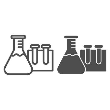 Beakers for chemistry line and solid icon, education concept, Laboratory glassware sign on white background, Test tubes icon in outline style for mobile concept and web design. Vector graphics.