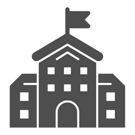 School building solid icon, education concept, high school silhouette sign on white background, building with flag icon in glyph style for mobile concept and web design. Vector graphics.