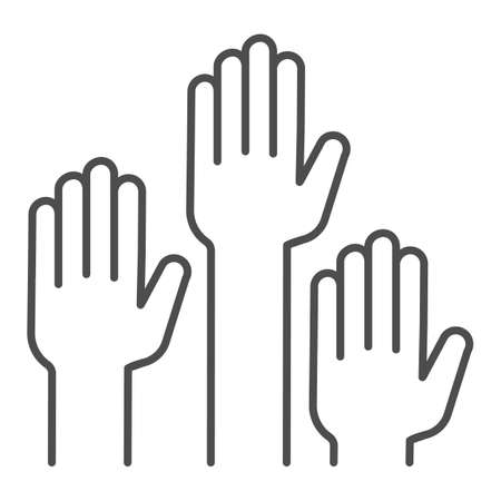 Hands raised up thin line icon, Education concept, raising up hands in air sign on white background, raised arms icon in outline style for mobile concept and web design. Vector graphics. Ilustração