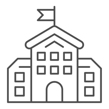 School building thin line icon, education concept, high school silhouette sign on white background, building with flag icon in outline style for mobile concept and web design. Vector graphics.