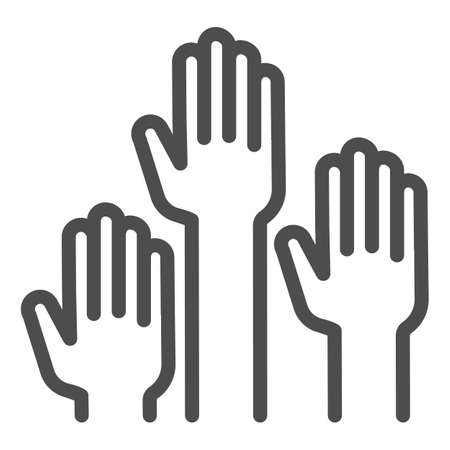 Hands raised up line icon, Education concept, raising up hands in air sign on white background, raised arms icon in outline style for mobile concept and web design. Vector graphics.