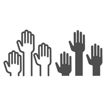 Hands raised up line and solid icon, Education concept, raising up hands in air sign on white background, raised arms icon in outline style for mobile concept and web design. Vector graphics.