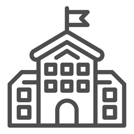 School building line icon, education concept, high school silhouette sign on white background, building with flag icon in outline style for mobile concept and web design. Vector graphics.