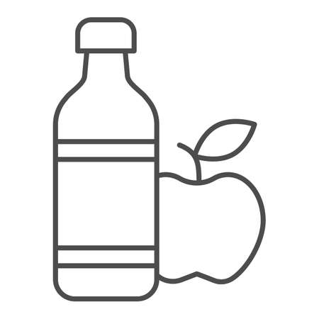 Apple and mineral water thin line icon, healthy lifestyle concept, bottle of water and fruit sign on white background, mineral water and apple icon in outline style for mobile. Vector graphics. Ilustração