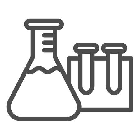 Beakers for chemistry line icon, education concept, Laboratory glassware sign on white background, Test tubes icon in outline style for mobile concept and web design. Vector graphics. Vectores