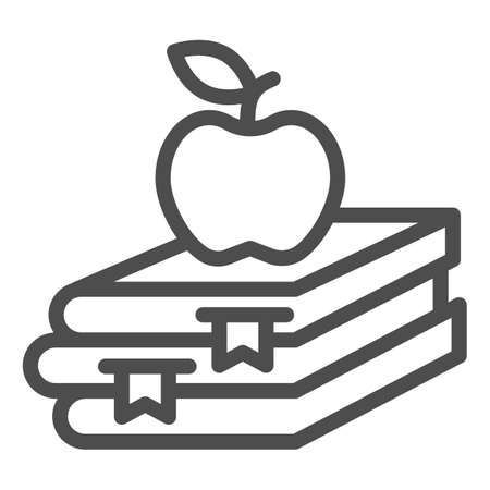 Books and apple line icon, Education concept, School book and apple sign on white background, stack of books with fruit on top icon in outline style for mobile, web design. Vector graphics. 向量圖像