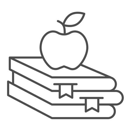 Books and apple thin line icon, Education concept, School book and apple sign on white background, stack of books with fruit on top icon in outline style for mobile, web design. Vector graphics.