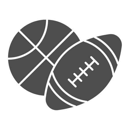 Basketball and soccer ball solid icon, sports concept, sport balls sign on white background, Basketball and rugby ball icon in glyph style for mobile concept, web design. Vector graphics.