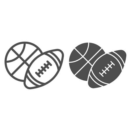 Basketball and soccer ball line and solid icon, sports concept, sport balls sign on white background, Basketball and rugby ball icon in outline style for mobile concept, web design. Vector graphics. Ilustracja