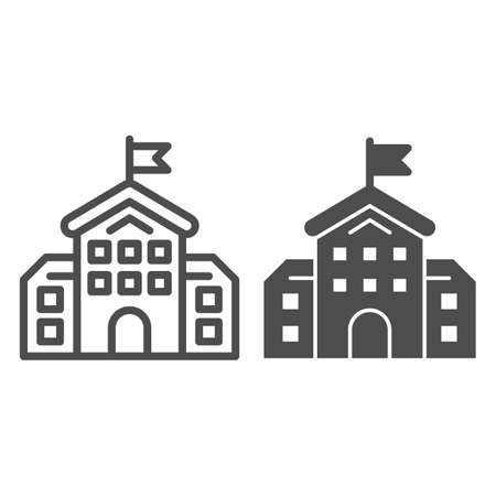 School building line and solid icon, education concept, high school silhouette sign on white background, building with flag icon in outline style for mobile concept and web design. Vector graphics. Stock Illustratie