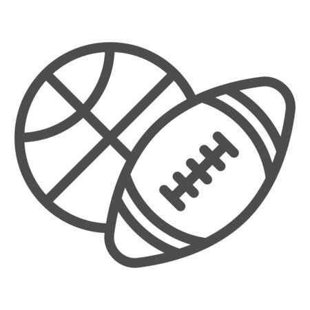 Basketball and soccer ball line icon, sports concept, sport balls sign on white background, Basketball and rugby ball icon in outline style for mobile concept, web design. Vector graphics.