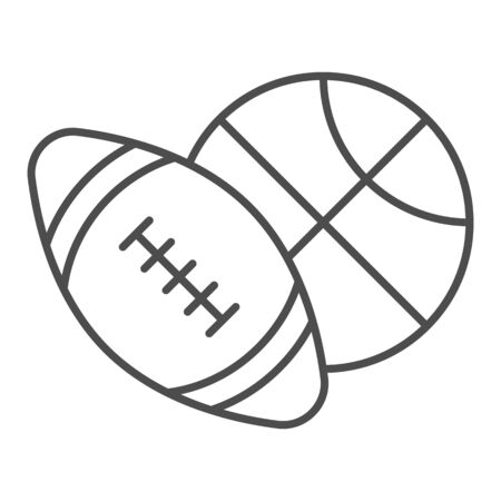 Basketball and soccer ball thin line icon, sports concept, sport balls sign on white background, Basketball and rugby ball icon in outline style for mobile concept, web design. Vector graphics.