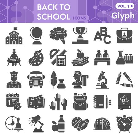 Back to school solid icon set, school symbols collection or sketches. Education glyph style signs for web and app. Vector graphics isolated on white background. 向量圖像