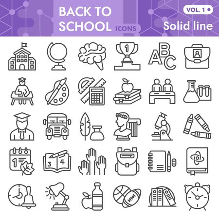 Back to school line icon set, school symbols collection or sketches. Education linear style signs for web and app. Vector graphics isolated on white background.