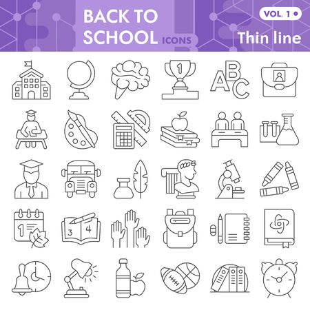 Back to school thin line icon set, school symbols collection or sketches. Education linear style signs for web and app. Vector graphics isolated on white background.