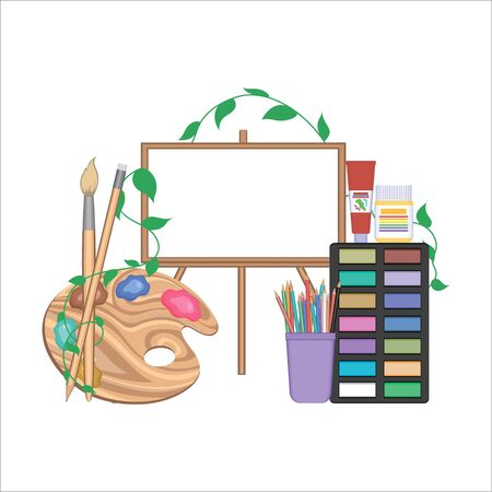 Vector set of painting tools on white background. Paint brushes, pencil stand, pencils, paint in box, tubes and small containers in set for drawing. Material for artists concept.