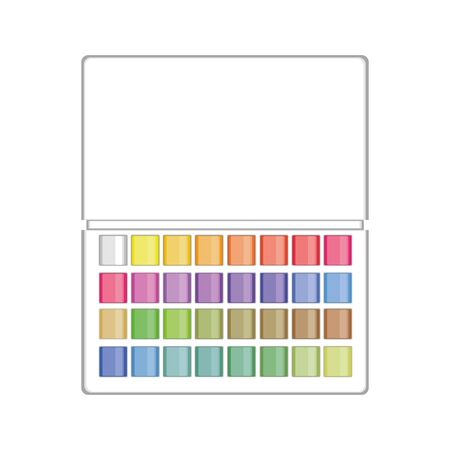 Colorful watercolour paintbox on white background. Paints for drawing. 44 colours set in box. Vector illustration