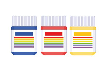 Small containers with gouache paint on white background. Three jars of blue, red and yellow paint. Material for artists concept. Vector illustration