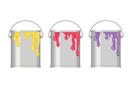 Three metal bucket with paint on white background. Yellow, red and violet paint in cans. House renovation concept. Flat vector illustration 일러스트