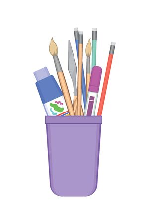 Pencil stand with painting tools on white background. Set of pen, pencils, brushes, marker and watercolor knife. Vector illustration in flat style