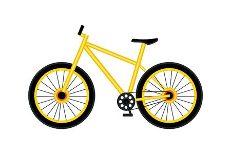 Yellow bicycle isolated on white background. Economical and ecological city transport concept. Side view. Vector illustration.